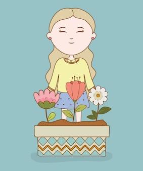 Smiling girl flowers in pot garden cartoon