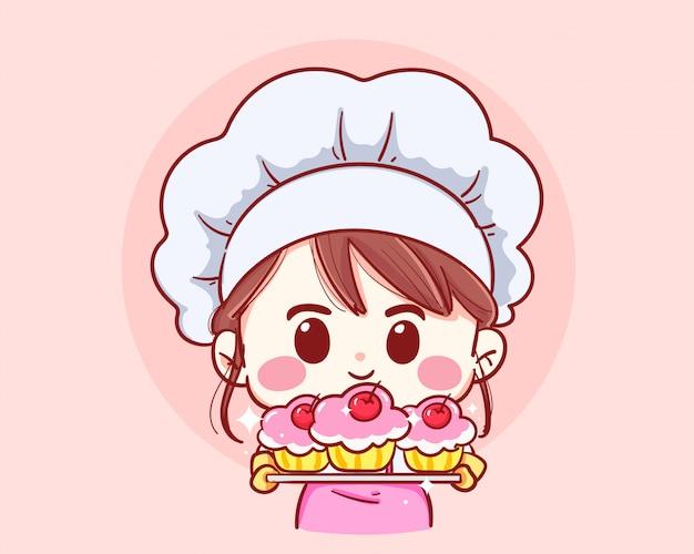 고립 된 앞치마를 입고 수 제 케이크와 베이킹 트레이 들고 웃는 소녀