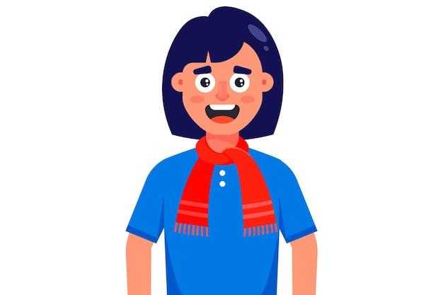 赤いニットスカーフで笑顔の女の子。白い背景で隔離のフラットなキャラクターイラスト。