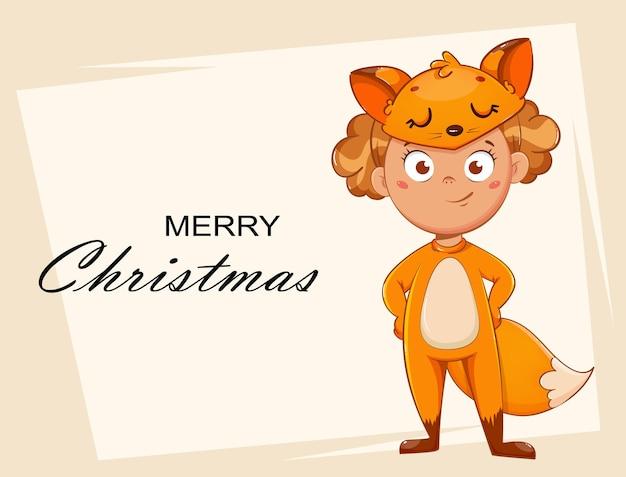 Улыбающаяся девушка в костюме лисы. ребенок в рождественском карнавальном костюме, милый мультипликационный персонаж. фондовый вектор иллюстрация