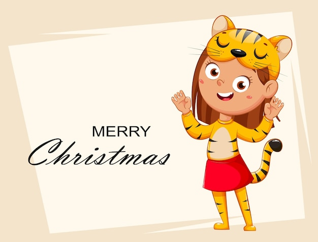 Улыбающаяся девочка в костюме тигра ребенок в рождественском карнавальном костюме милый мультипликационный персонаж