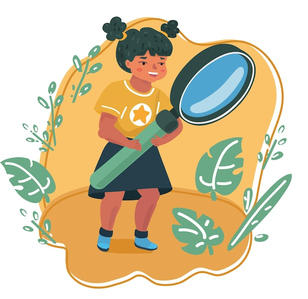 Smiling girl looking through a magnifying glass