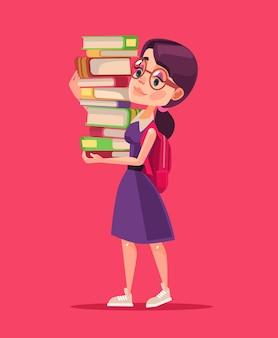 Улыбающийся персонаж студента девушка держит книги. мультфильм