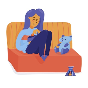 Smiling girl, woman relaxing on sofa with teddy bear, eating chips, happy alone