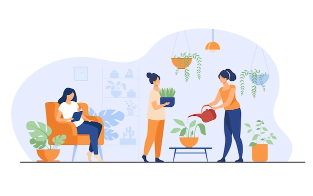 Smiling girls in greenhouse growing plants in pots isolated flat vector illustration. cartoon characters caring for houseplants in home garden.