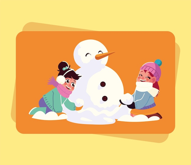 Smiling girls making snowman playing with snowball cartoon vector illustration