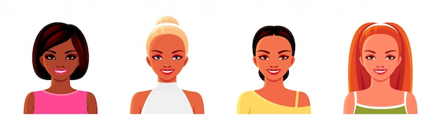 Smiling girls in summer dresses. female avatars set.  isolated illustrations of women with various hairstyles and clothes