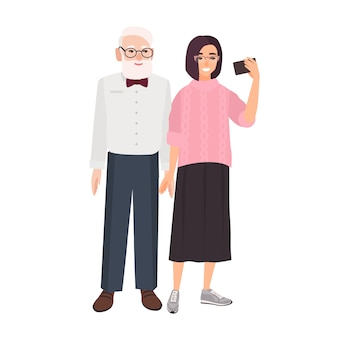 Smiling grandfather and granddaughter standing together and taking selfie. cute funny elderly man and young girl making photo on smartphone. colorful illustration in flat cartoon style.