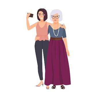 웃고 있는 할머니와 손녀가 함께 서서 스마트폰으로 셀카를 찍고 있습니다. 행복 한 노부와 휴대 전화에 사진을 만드는 젊은 십 대 소녀. 평면 만화 스타일의 벡터 일러스트 레이 션.