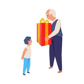 幸せな男の子フラット孤立イラストにプレゼントを与える笑顔おじいちゃん