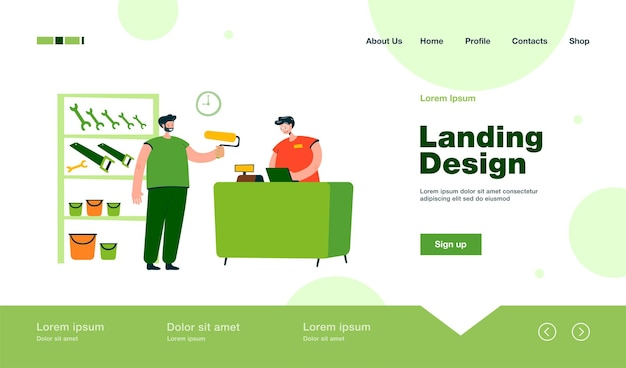 Smiling guy buying paint roller in tool store landing page in flat style