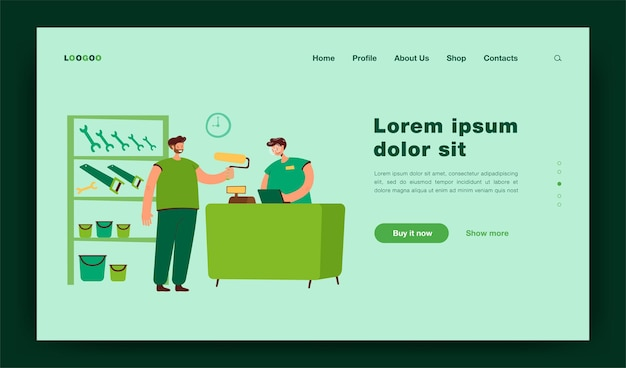 Smiling guy buying paint roller in tool store landing page template