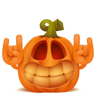 Smiling halloween pumpkin jack lantern emoticon cartoon character.