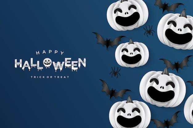 Smiling halloween pumpkins on navy blue background