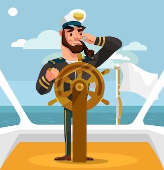 Улыбающийся счастливый капитан у руля иллюстрации