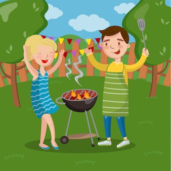 Smiling happy couple having outdoor barbecue, young man and woman cooking meat and having fun   illustration