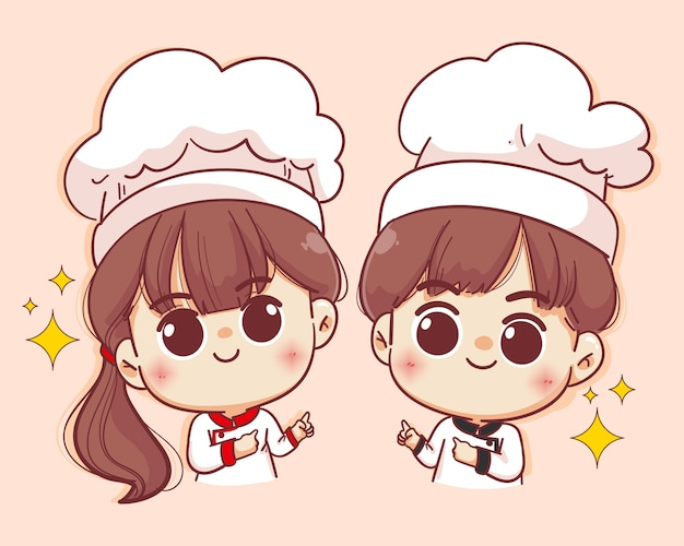 웃는 행복 여성 요리사와 남성 요리사. 여자 요리사와 남자 요리사는 요리입니다. 손으로 그린