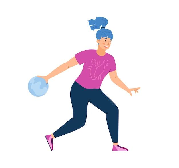 재미있는 스포츠 게임에서 볼링 공을 들고 웃는 행복한 소녀