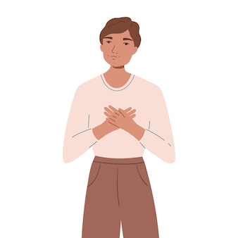 Smiling happy man holding hands on his chest. concept of self-love and self-acceptance. young guy shows support and understnading. flat cartoon illustration isolated on white background