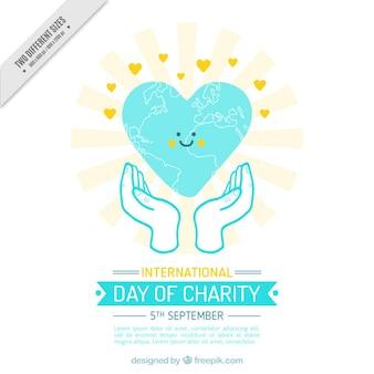慈善団体の国際的な日に心を笑顔