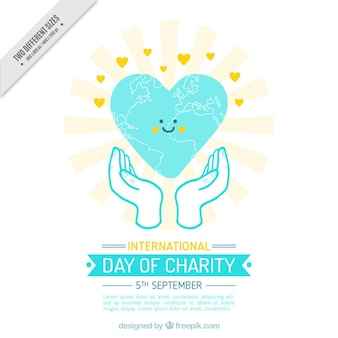Smiling heart in the international day of charity