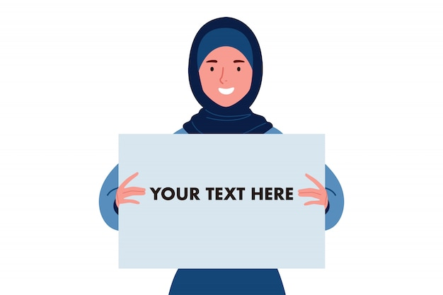 A smiling hijab or muslim women holding white blank board