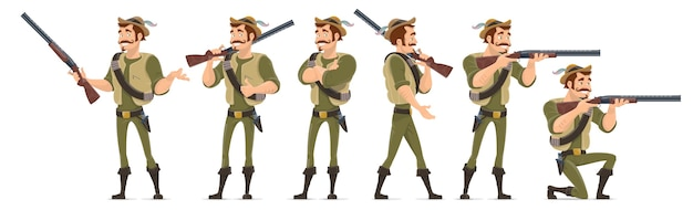 Smiling hunter characters collection in various poses with shotgun knife and bullets isolated