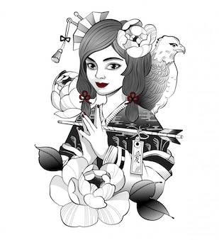 Smiling japanese geisha received a message