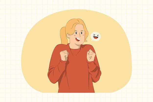 Улыбаясь радостной молодой женщины, сжимая кулаки жест