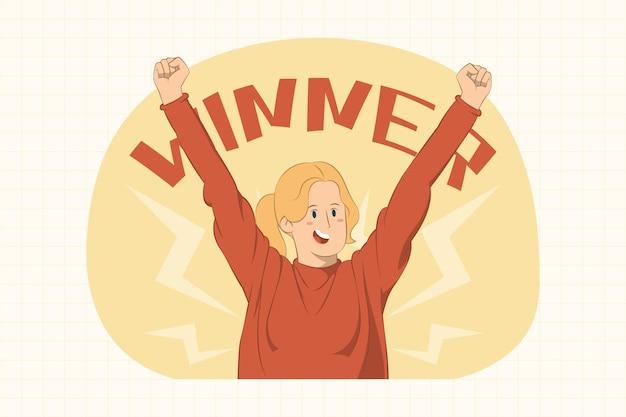 Улыбающаяся радостная молодая женщина делает жест победителя