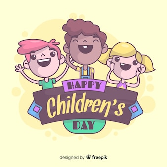 Smiling kids childrens day background