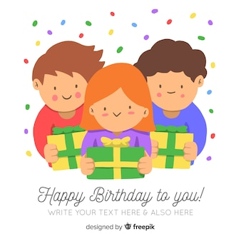 Smiling kids holding birthday presents background