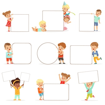 Smiling kids standing with white blank boards set. happy little boys and girls in casual clothes holding empty posters  illustrations