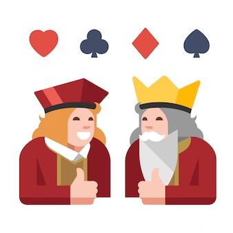 Улыбающийся король и джек показывают лайк. элементы дизайна для азартных и карточных игр.