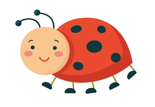 Smiling ladybird. cute cartoon character. flat vector illustration isolated on a white background.