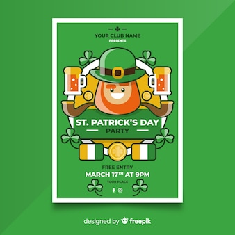 Smiling leprechaun st patrick's day poster template