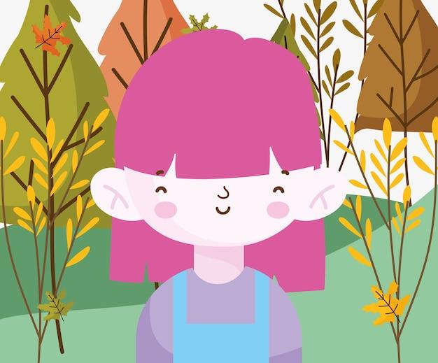 야외 공원 자연에서 어린 소녀 미소 프리미엄 벡터