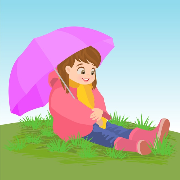 Smiling little girl with umbrella