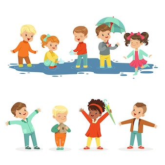 に向けて、水たまりで遊ぶ小さな子供たちの笑顔。子供のためのアクティブなレジャー。漫画の詳細なカラフルなイラスト