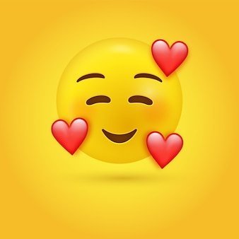 Улыбающееся любящее лицо смайлика с улыбающимися глазами и тремя сердцами - 3d персонаж