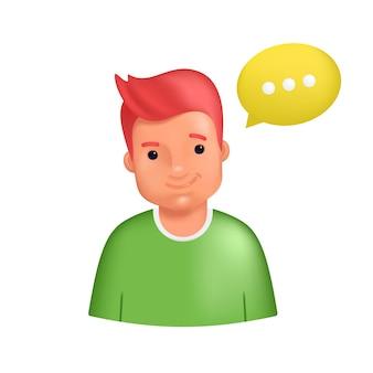 Улыбающийся мужской аватар в зеленом свитере. реалистичная 3d векторная иллюстрация счастливого случайного человека с желтым речевым пузырем в качестве аватара для социальных сетей и сетей