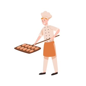 Smiling male baker baking bread flat vector illustration. happy bakery worker putting tasty loaves in oven. bakehouse staff in uniform holding buns on shovel cartoon color character.