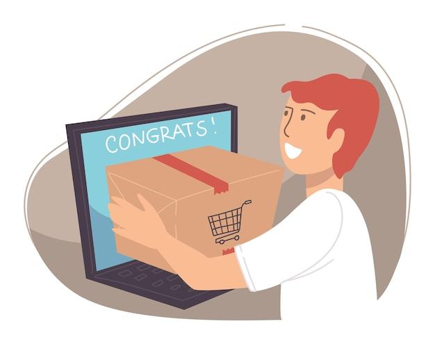 オンラインインターネットショップから注文を受けている笑顔の男性キャラクター。ノートパソコンを使用してウェブサイトで商品を購入する男性。商品の発送と配送。貿易のためのアプリケーション、分離。フラットスタイルのベクトル
