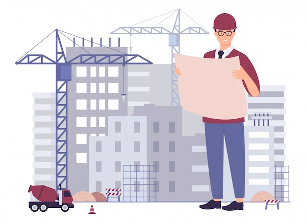 Smiling male creative architect civil engineer professional technician builder worker foreman hold project paper plan, check inspect supervise building under construction, cartoon  illustration.