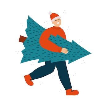 クリスマスツリーを運ぶ笑顔の男。カード、テキスタイル、バナー、広告の休日のコンセプトの準備