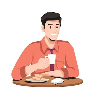 ネクタイで笑顔の男は、プレートの孤立した平らな漫画のキャラクターにクッキーやワッフルとコーヒーを飲みます