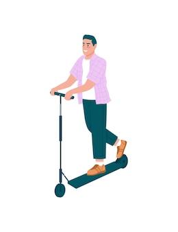 Улыбающийся человек на электронном самокате плоский подробный персонаж. счастливый парень, едущий на электромобиле. активный отдых на свежем воздухе для весны изолированный мультфильм