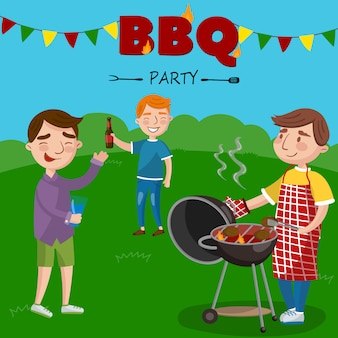 Smiling man preparing barbecue outdoors for his friends, bbq boys party   illustration,