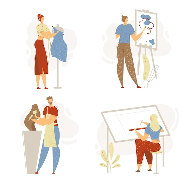スタジオで働く笑顔の男の彫刻家。ファッションデザイナーと女性キャラクター。ブラシで絵を描く男。建築工学。
