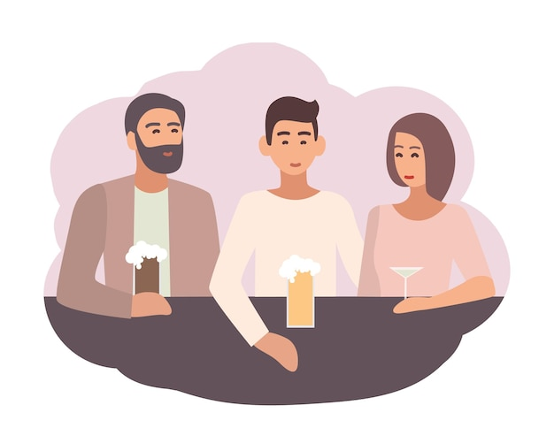 Smiling man sitting at bar counter with friends and drinking beer and cocktails. male character spending time with mates. daily life scene. colorful vector illustration in flat cartoon style.